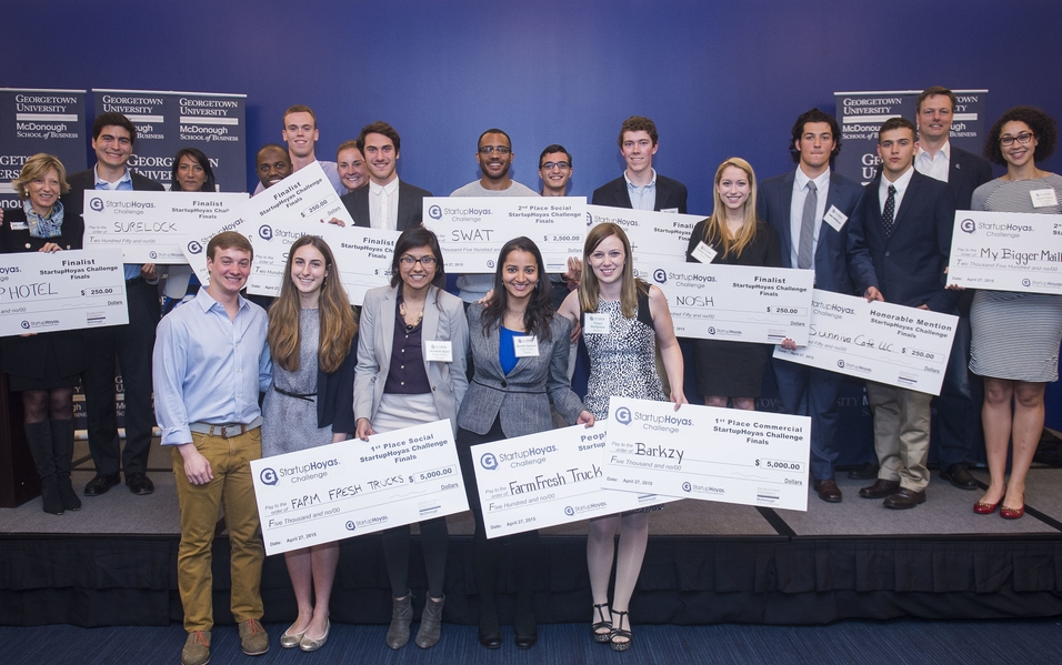 Photo of the Elooza15 Challenge Winners posing with the checks they won