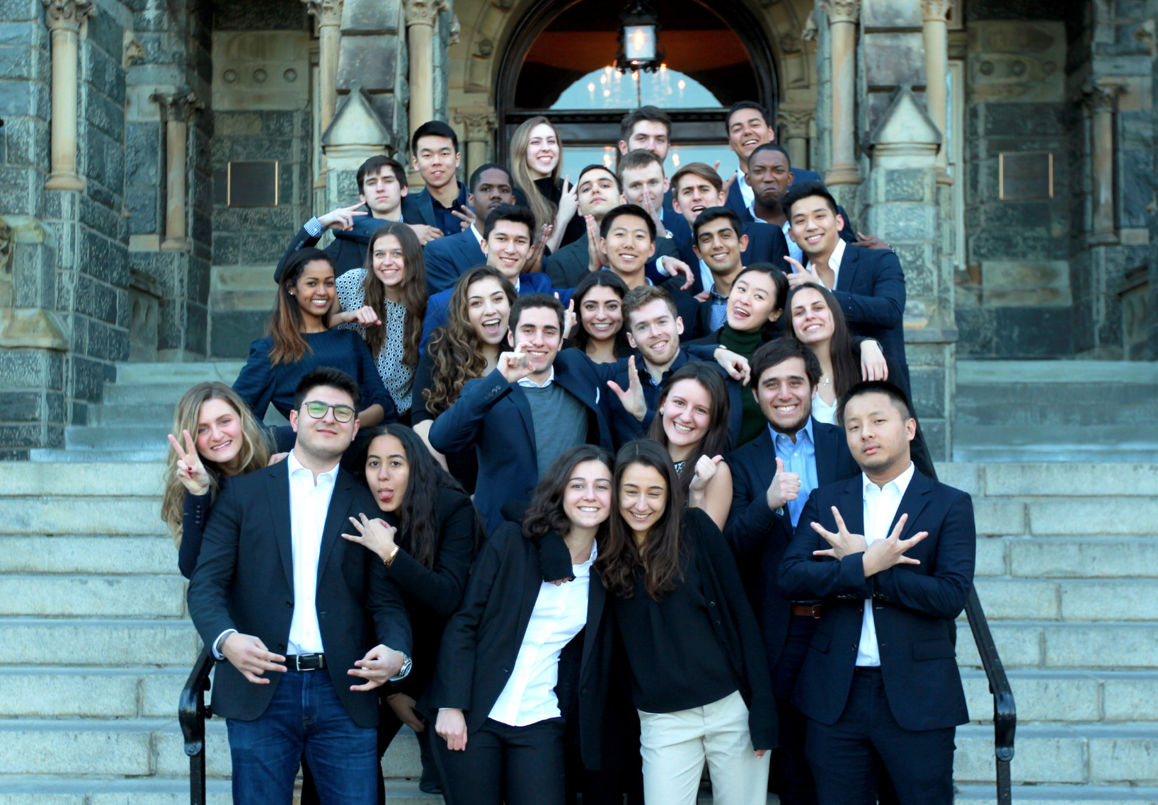 Photo of Georgetown Ventures Student Group posing outside